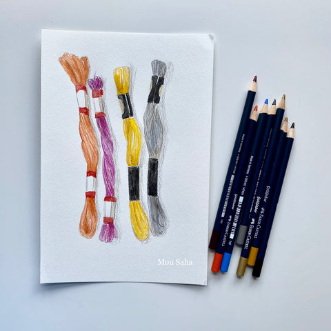 Thread sketch with Goldfaber Color Pencils