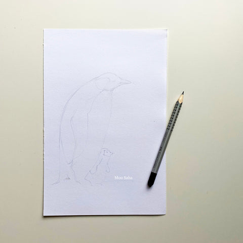 Paper with penguin sketch