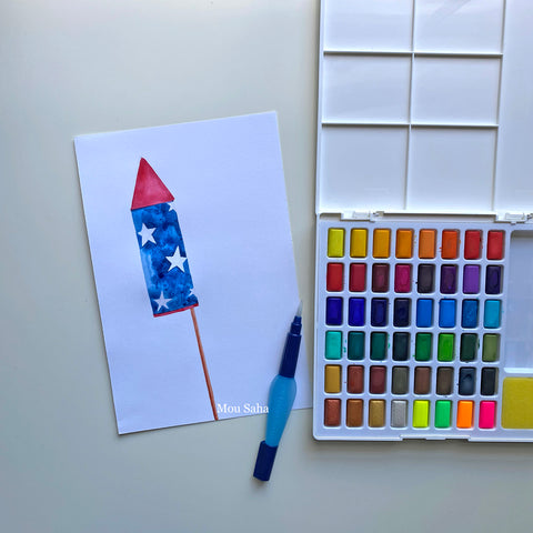 Watercolor firework with watercolor pans