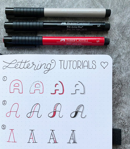 Bullet Journal lettering tutorial and Pitt Artist Pens