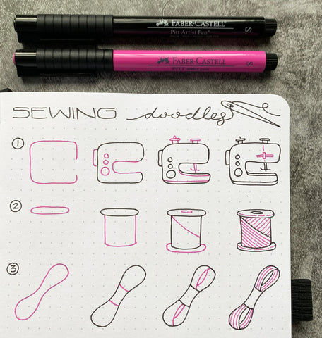 Bullet Journal Sewing Doodles and Pitt Artist Pens
