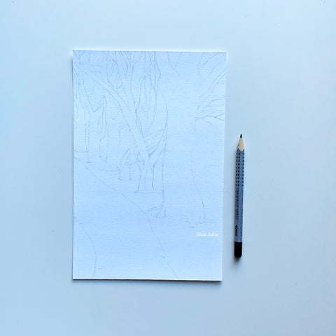 Sketch of trees with Graphite pencil