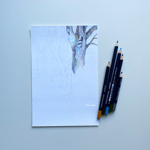 Sketch of trees with Goldfaber Color Pencils