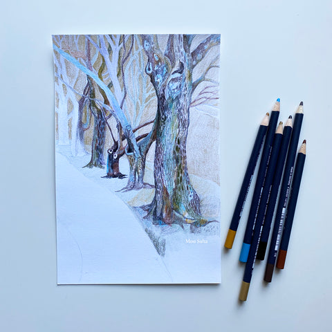 Sketch of trees and Goldfaber Color Pencils