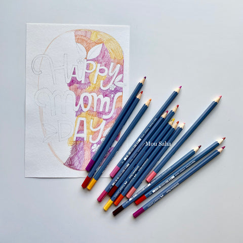 Happy Moms Day art with Goldfaber Watercolor Pencils