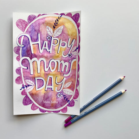 Happy moms day watercolor art and two Goldfaber Watercolor Pencils