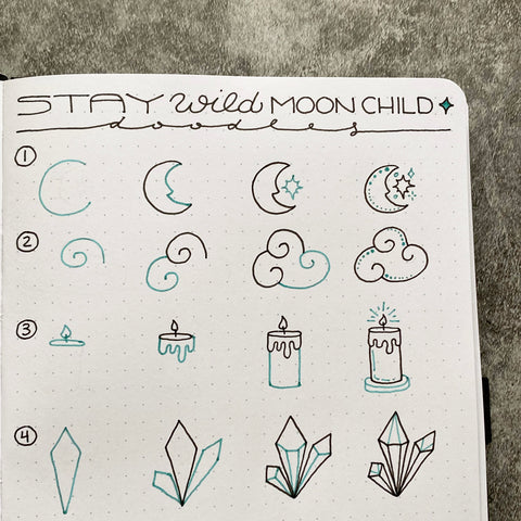 Bullet Journal with moon child doodles