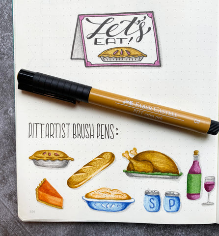 Food doodles and a Pitt Artist Pen