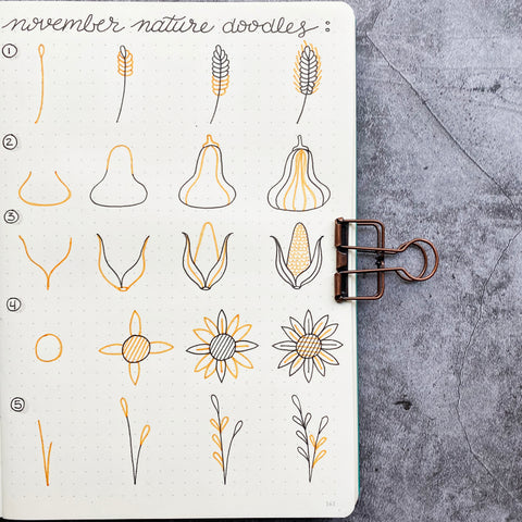 Nature Doodles: Corn, Sunflowers, and Wheat