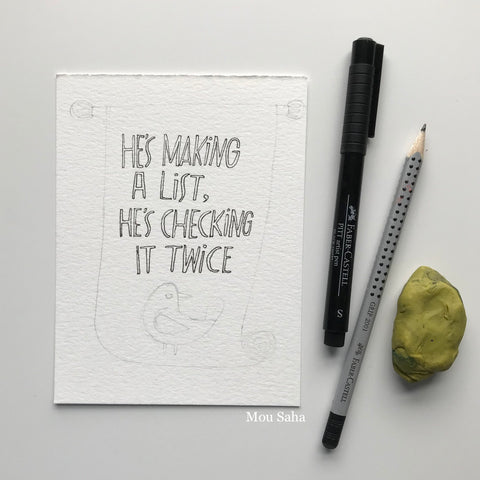 Christmas Hand Lettering and Pitt Artist Pen and Grip Pencil