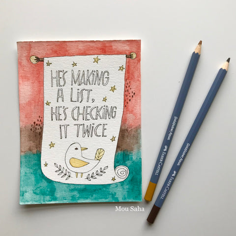 Christmas Watercolor Art with Goldfaber Watercolor Pencils