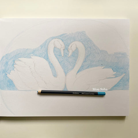 Swan Sketch with blue Goldfaber Color Pencil