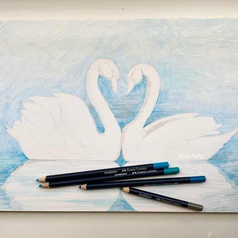 Swan sketch and Goldfaber Color Pencils
