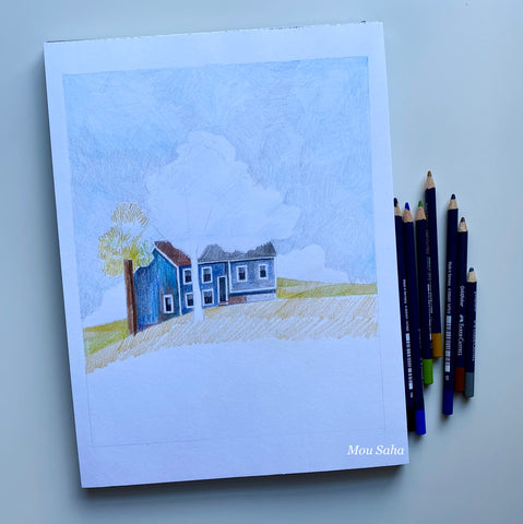 Sketch with house and sky with Goldfaber color pencils