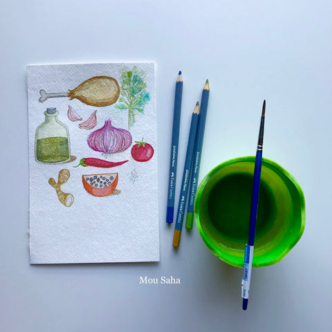 Recipe Doodles, Polychromos Color Pencils, and a Water Cup