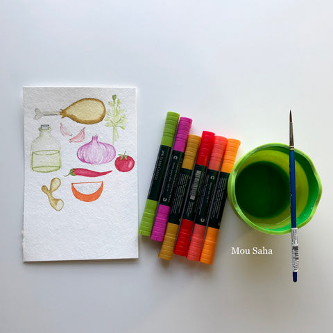 Recipe Sketches with Albrecht Durer Watercolor Markers and Water Cup