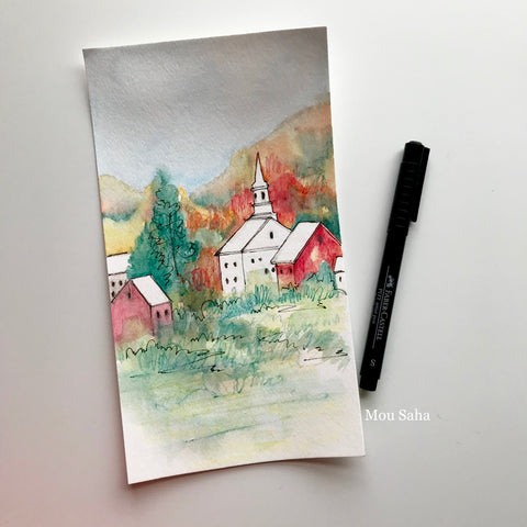 Fall Watercolor Sketch with Pitt Artist Pen
