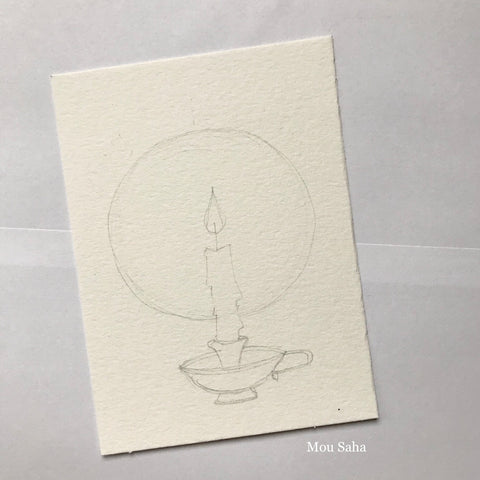 Graphite Pencil Candle Sketch