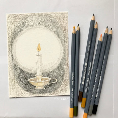 Candle Sketch with Goldfaber Aqua Watercolor Pencils