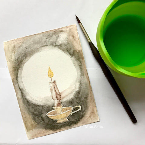 Watercolor Candle with Water Brush and Cup