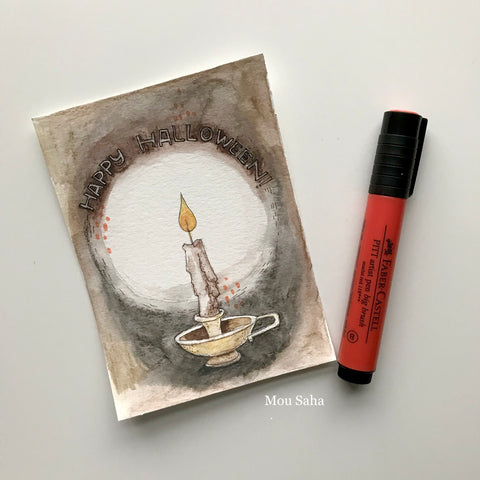 Watercolor Candle with Pitt Artist Pen