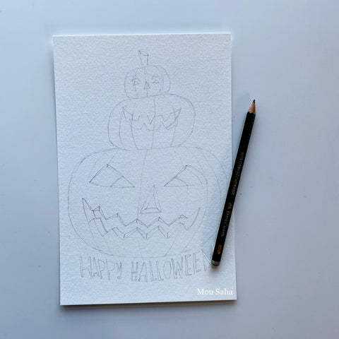 Jack-o-lantern outline with graphite pencil