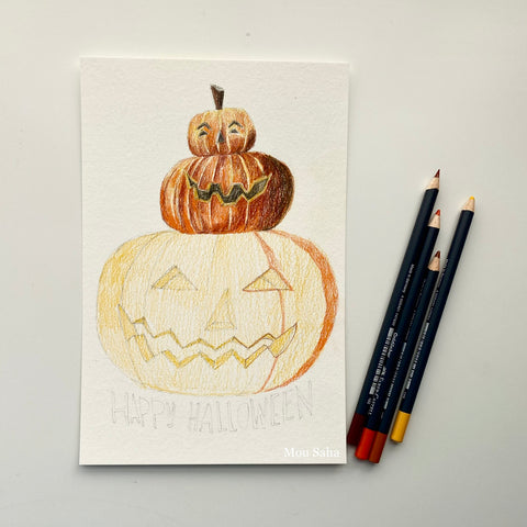 Jack-o-lantern with Goldfaber color pencils