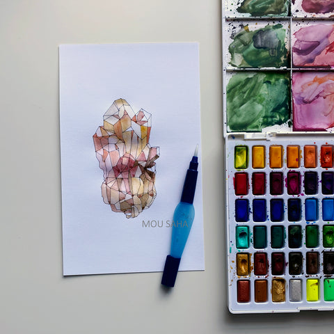 Crystal sketch with Watercolors in Pans