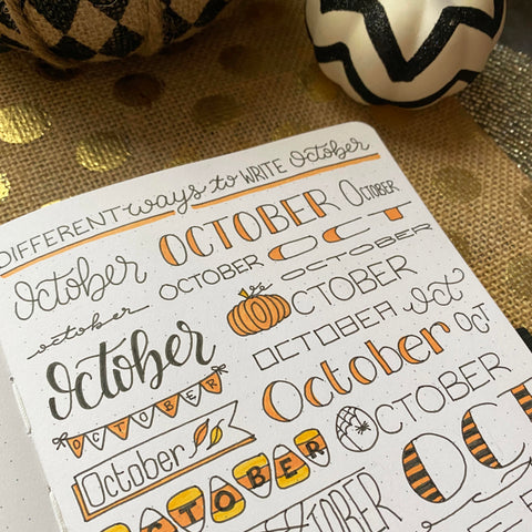 Bullet Journal with October writing