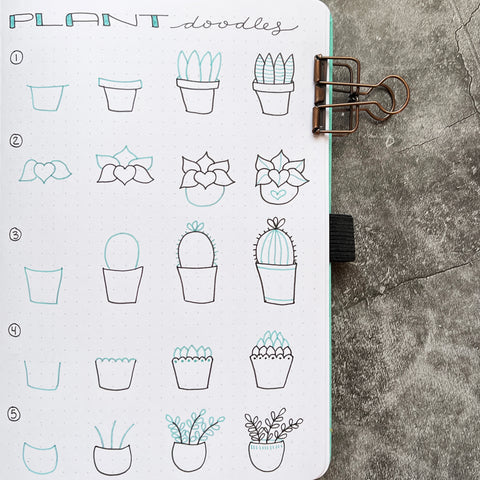 Bullet Journal with plant doodles