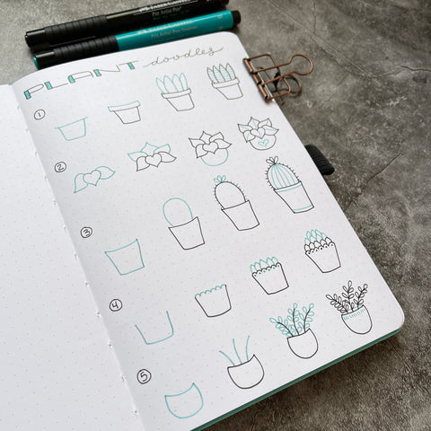 Bullet Journal with plant doodles and Pitt Artist Pens