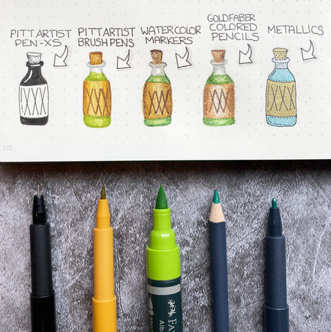 Scary Potion Doodles with Pitt Artist Pens, an Albrecht Durer Watercolor Marker, and a Goldfaber Pencil