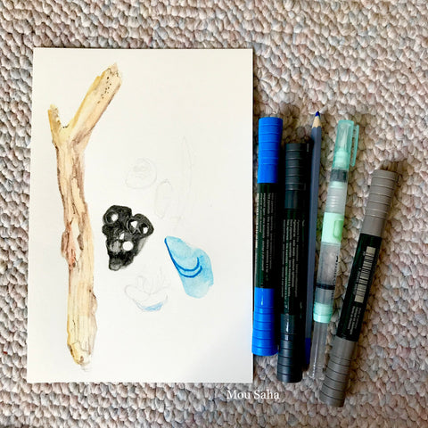 Watercolor Seashell Sketch and Supplies