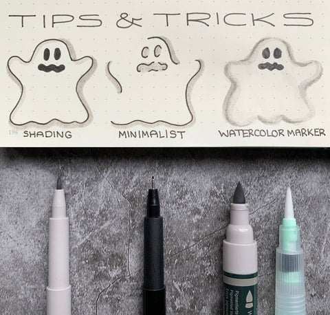 Ghost Doodles with Pitt Artist Pens, Watercolor Marker, and Water Brush