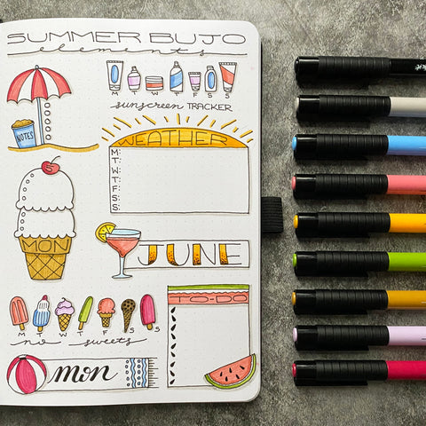 Bullet Journal with Summer Elements and Pitt Artist Pens