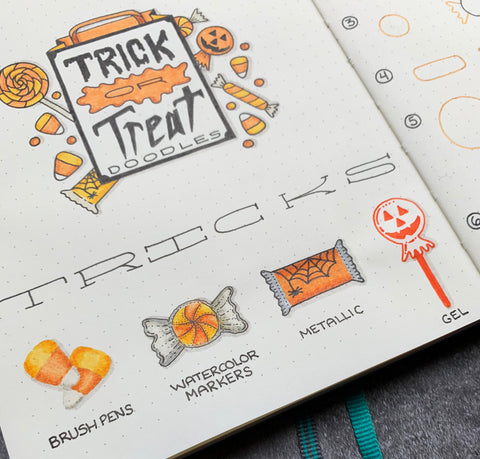 Halloween Doodles of Candy in Bullet Journal