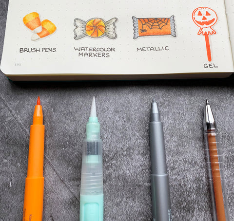 Halloween Candy Doodles with Pitt Artist Pens, Water Brush, and a Gel Pen