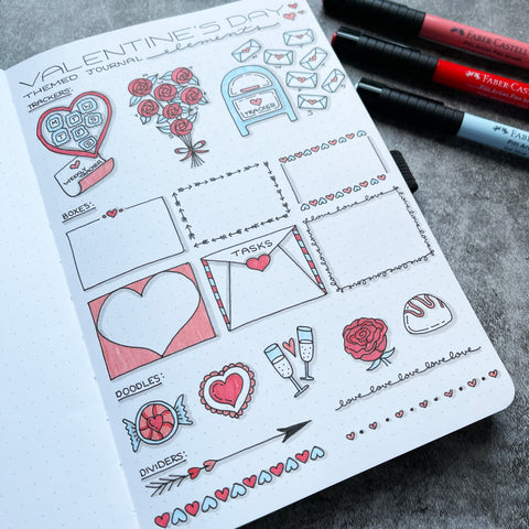 Bullet Journal with Valentine's Day doodles and Pitt Artist Pens