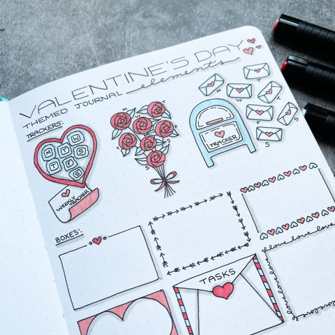 Bullet Journal with Valentine's Day doodles