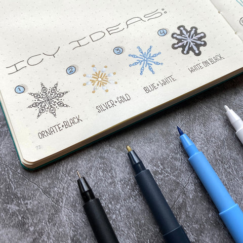 Bullet Journal with Snowflakes and Pitt Artist Pens