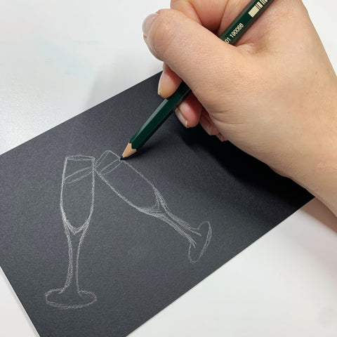 Graphite Sketch of Champagne Flutes and a Metallic Marker