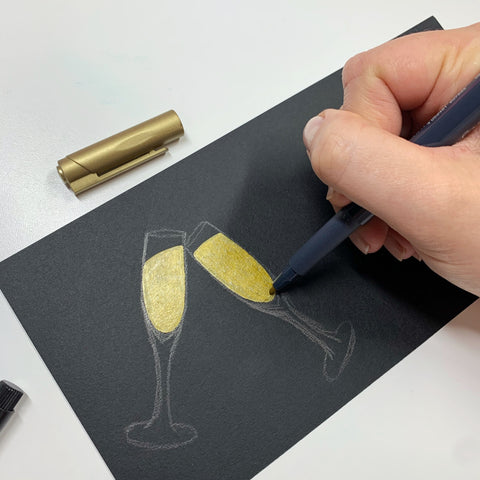 Metallic Marker Champagne Flutes