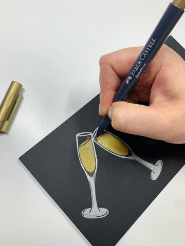 Metallic Marker Champagne Flutes and Metallic Marker