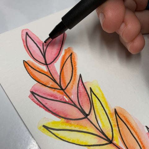 Watercolor Leaves and Pitt Artist Pen