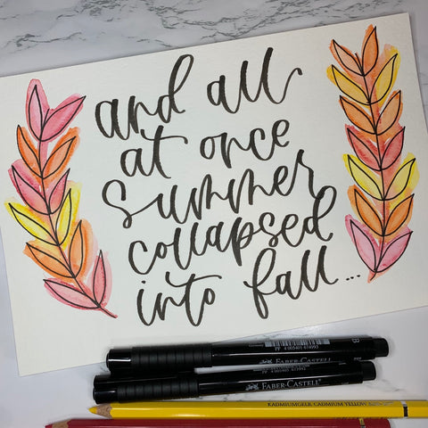 Fall Wreath with Handlettering Quote, Watercolor Pencils, and Pitt Artist Pens