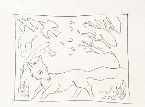 Sketch of a fox in the woods