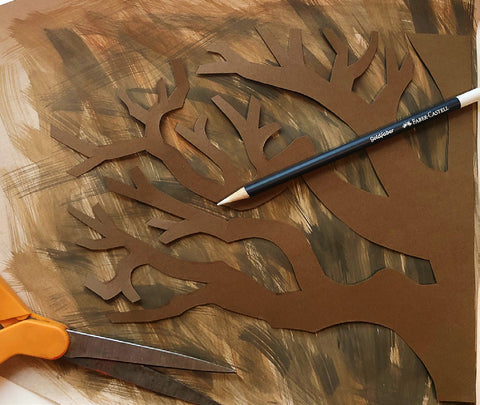 Cut out tree with brown paint