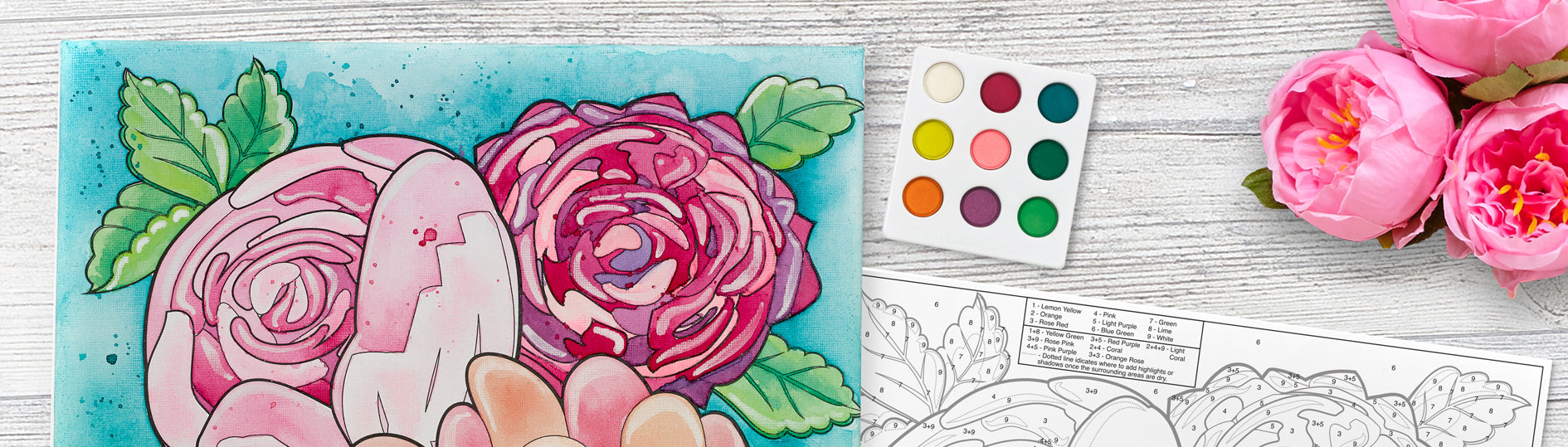 Watercolor Paint By Number Bold Floral