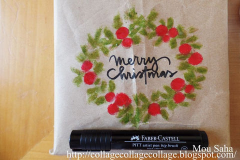 Merry Christmas Wreath Kraft Wrapping Paper with Pitt Artist Pen