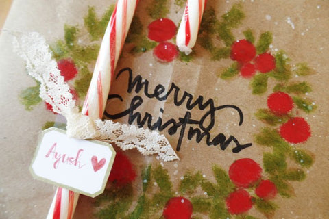 Personalized Wrapping Paper with Candy Cane